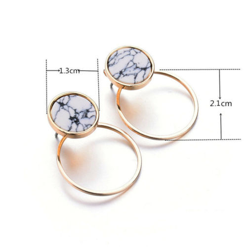 Geometric Round Triangle Square Marble Pattern Earrings Punk Ear Stud Gift