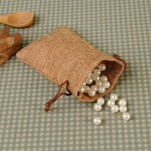 10//50//100pcs Wedding Favor Hessian Burlap Jute Candy Gift Bags Drawstring Sack