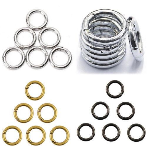 12pcs 28mm Circle Round Carabiner Spring Snap Clip Hook Keychain Hiking