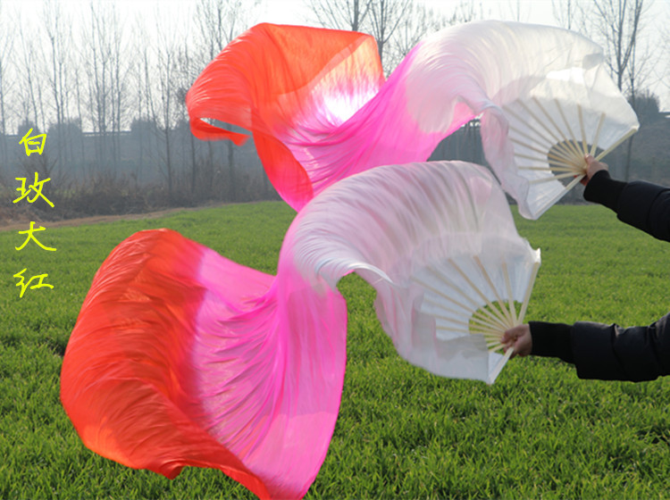 Hand Made Colorful Belly Dance Dancing Silk Bamboo Long Fans Veils 1 Pair A