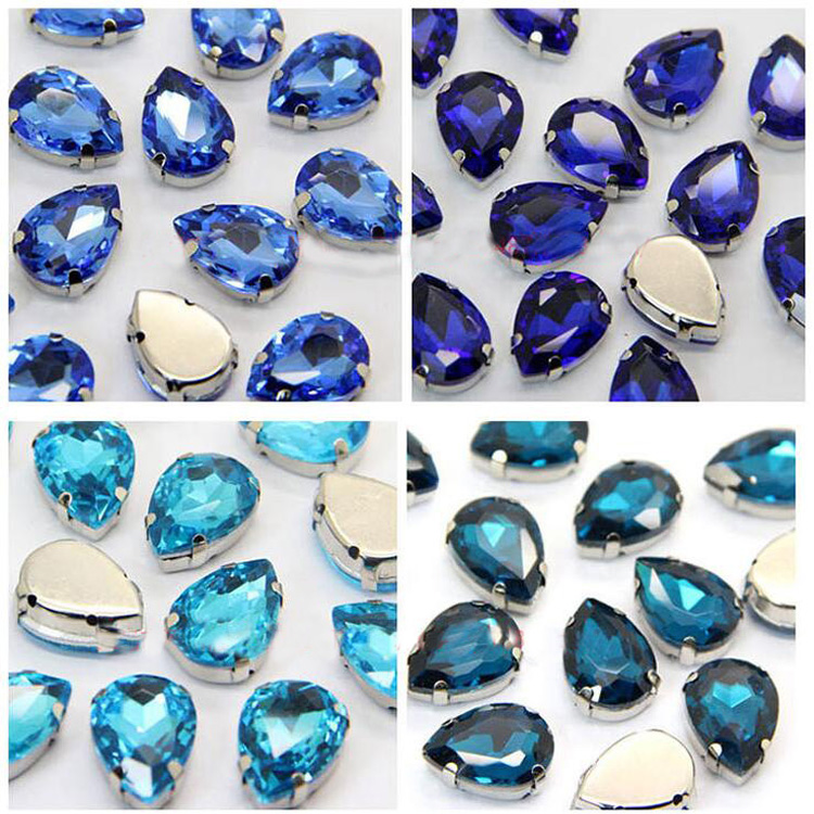 20X 10x14MM Crystal Sew On Glass Cup Rhinestone Silver Base Beads Craft Gem UK