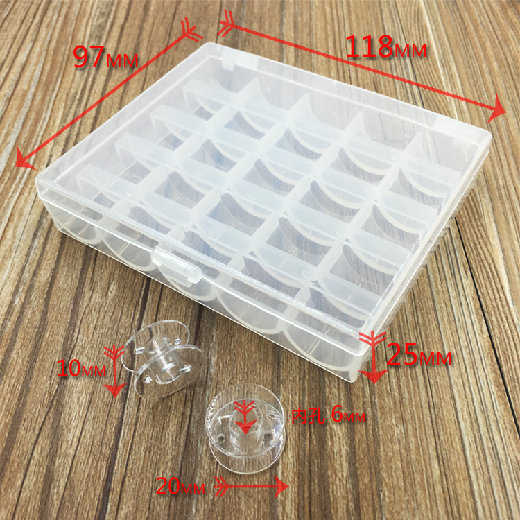 25pcs Metal Plastic Bobbins Spool With Storage Case Box for Home Sewing Machine