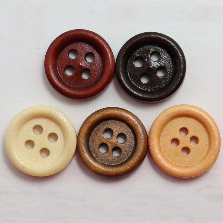 10-100Pcs Wooden 4 Holes Round Wood Sewing Buttons Craft Scrapbooking 15mm UK