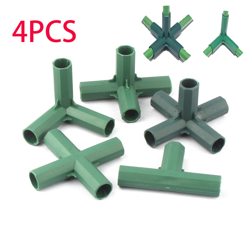 Funsquare 4PCS 16MM Greenhouse Frame Connectors PVC Fitting 5 Types Stable Support Heavy Duty Greenhouse Frame Building Connector Cane Connectors
