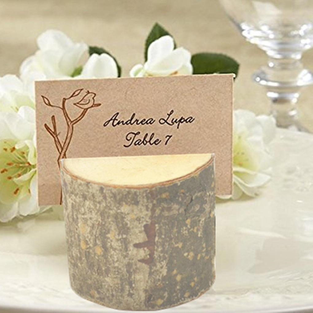 50pcs Rustic Wedding Table Wooden Place Number Name Card Stand