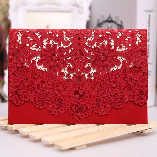Floral Lace Laser Cut Printing Wedding Invitation Cards Party