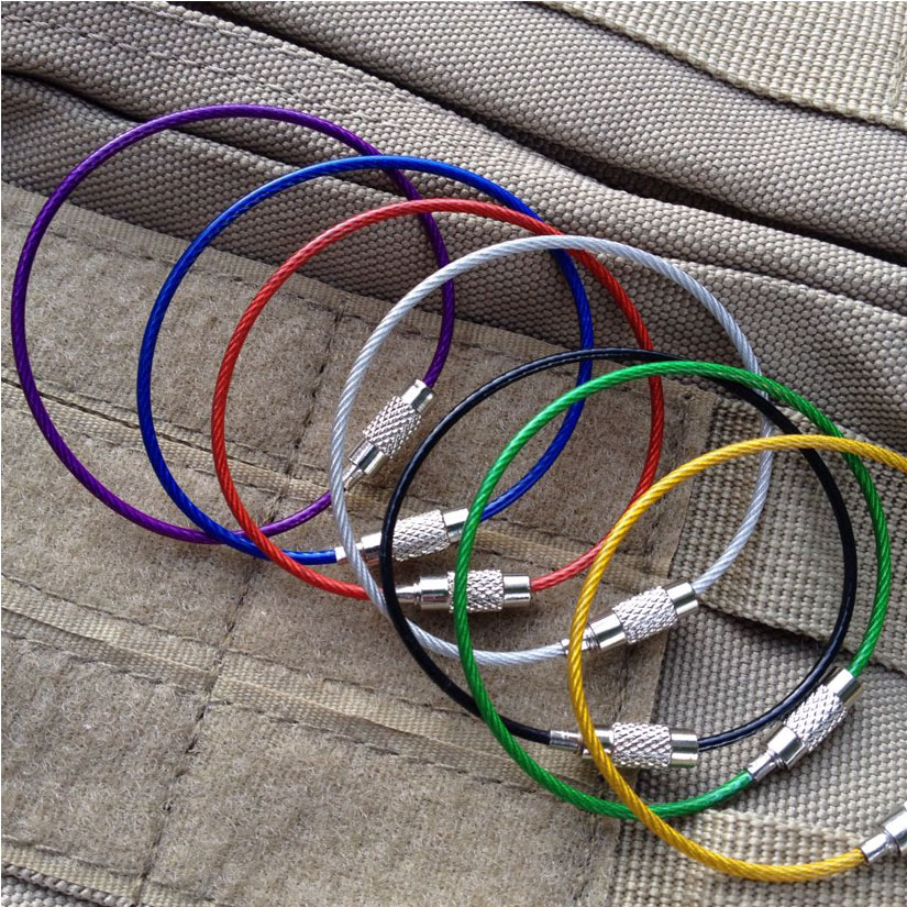 5 Pcs Stainless Steel Wire Keychain Cable Clasp Key Ring Luggage ...