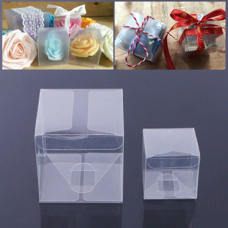 100 Pcs Square Clear Pvc Plastic Candy Party Wedding Favor Gift