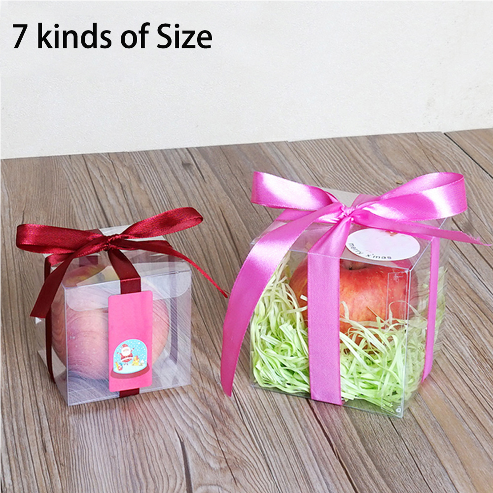 100 PCS SQUARE Clear PVC Plastic Candy Party Wedding Favor Gift ...