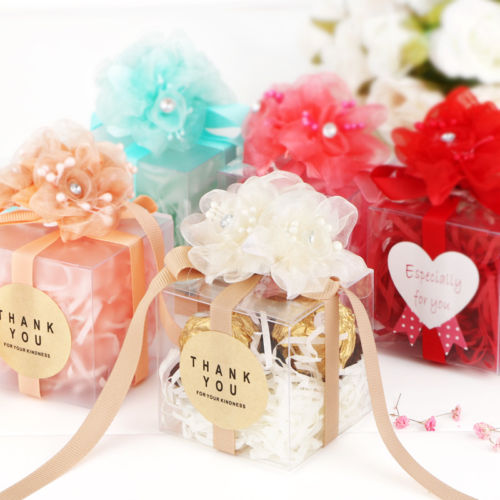 Clear Pvc Plastic Square Chocolate Candy Gift Bo