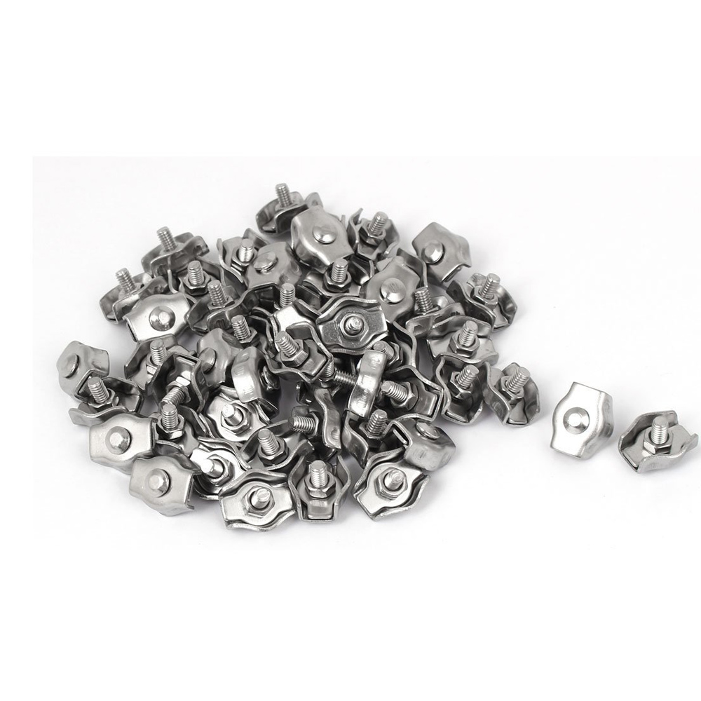 50Pcs 3mm Stainless Steel Simplex Single Bolt Wire Rope Clips Grips ...